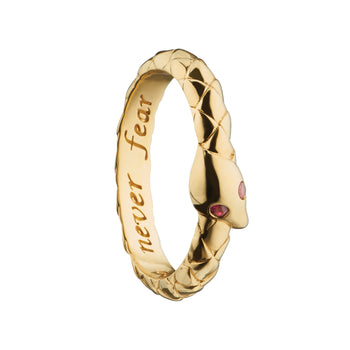 """Never Fear"" Snake Poesy Stackable Ring"