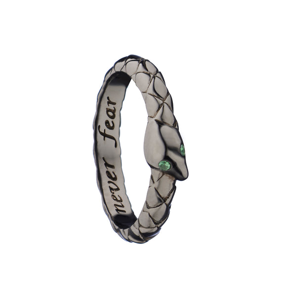 """Never Fear"" Snake Poesy Ring  with Black Rhodium"