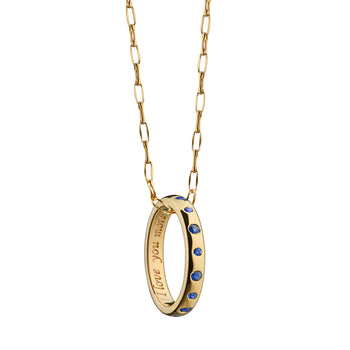 """I love you more"" Poesy Ring Necklace with Sapphires on Gold Chain"