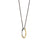 "18K Yellow Gold and Sterling Silver ""Silver Lining"" Poesy Ring Necklace on Steel Chain"