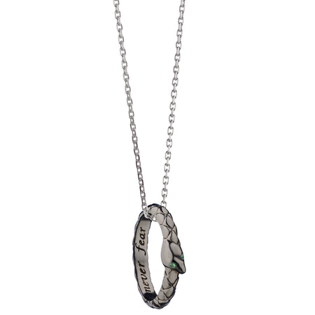 """Never Fear"" Snake Poesy Ring Necklace with Black Rhodium"