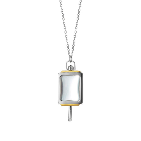 Rectangular Rock Crystal Two-Tone Key