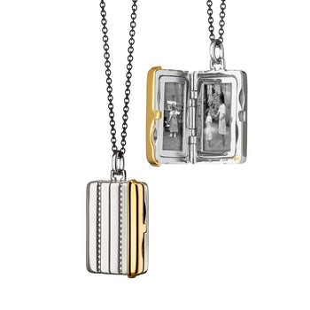 Rectangular Pinstripe Two-Tone Locket
