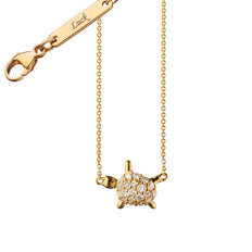 "Diamond Critter Turtle ""Luck"" Charm Necklace"