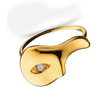 Unmasked™ Half Mask Yellow Gold Ring