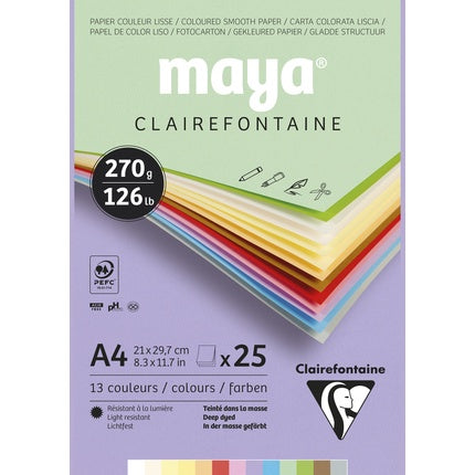 Maya Assorted Colours Pad 270gsm