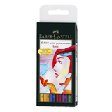 PITT Pen Brush Wallet of 6 Basic Colours
