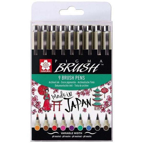 Sakura Brush Pen Set of 9 Assorted Colours