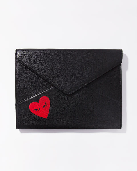 Fancy Heart Leather Laptop Clutch