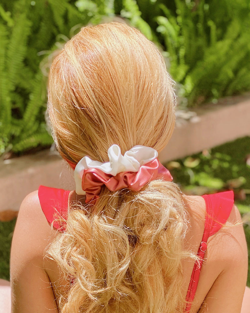 Silk Two-Tone Scrunchie Set - Dusty Mauve/Cream
