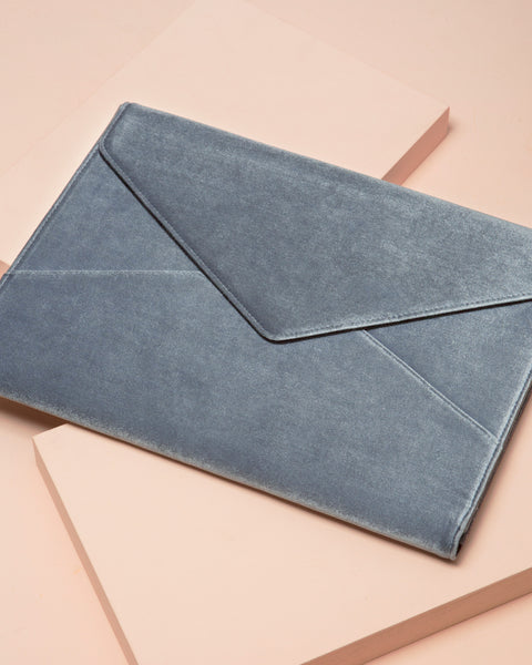 Powder Blue Velvet Laptop Clutch