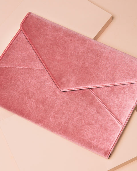 Rose Velvet Laptop Clutch
