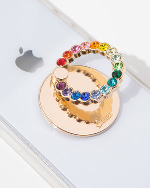 Embellished Rhinestone Ring, Rainbow Tech accessories