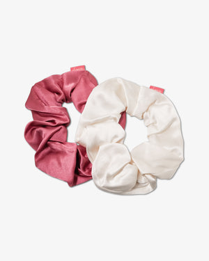 Silk Two-Tone Scrunchie Set - Dusty Mauve/Cream Hair at home collection