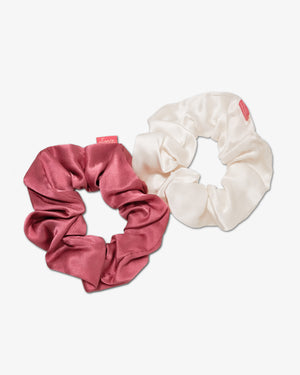 Silk Two-Tone Scrunchie Set - Dusty Mauve/Cream Best sellers