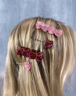 Strawberry Hairclip Set - Pink <br>