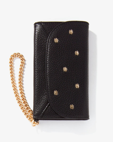 Embellished Black Vegan Leather Wristlet, iPhone XS/X