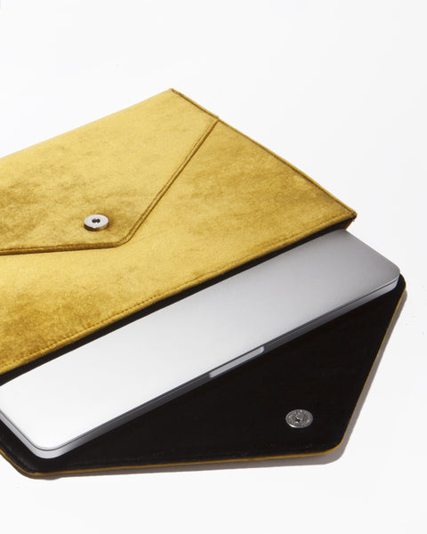 Canary Velvet Laptop Clutch