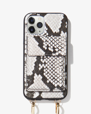 Tres Case Crossbody - Gray Python,  iPhone 11 Pro / XS / X Wild child