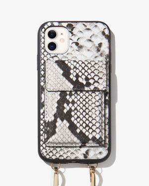 Tres Case Crossbody - Gray Python, iPhone 11 / XR Tres case crossbody