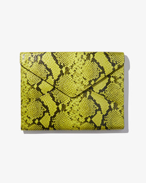 "13"" Laptop Clutch - Neon Green Python Wild child"