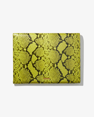 "15"" Laptop Clutch - Neon Green Python"