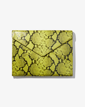 "15"" Laptop Clutch - Neon Green Python Wild child"