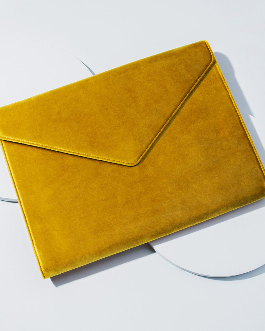 Tech Accessories - Canary Velvet Laptop Clutch