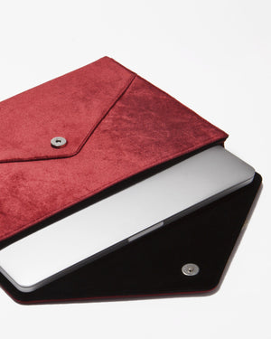 Tech Accessories - Cherry Velvet Laptop Clutch
