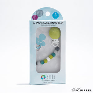 Mini pacifier clip in charcoal, light grey, emerald, lime and white from BULLE | Tiny Squirrel's pacifier clips