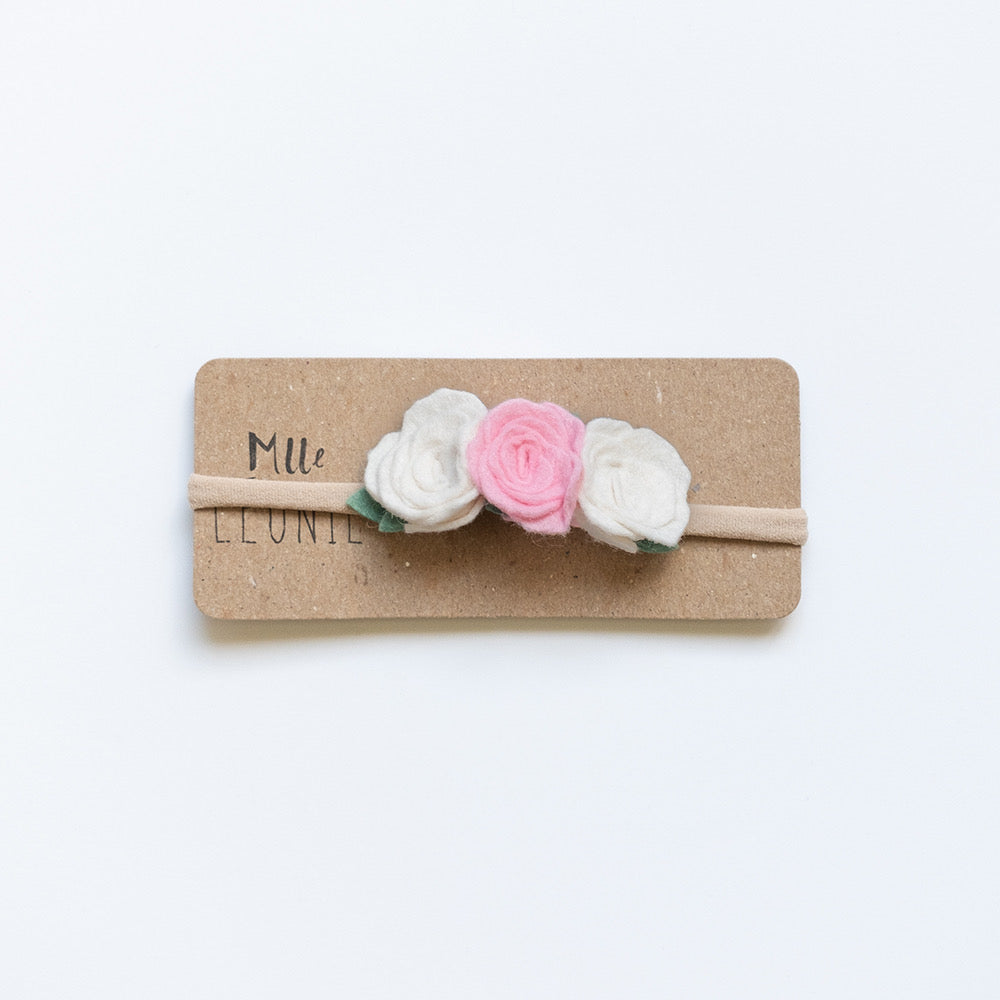Headband with 3 flowers | Cream and bright pink
