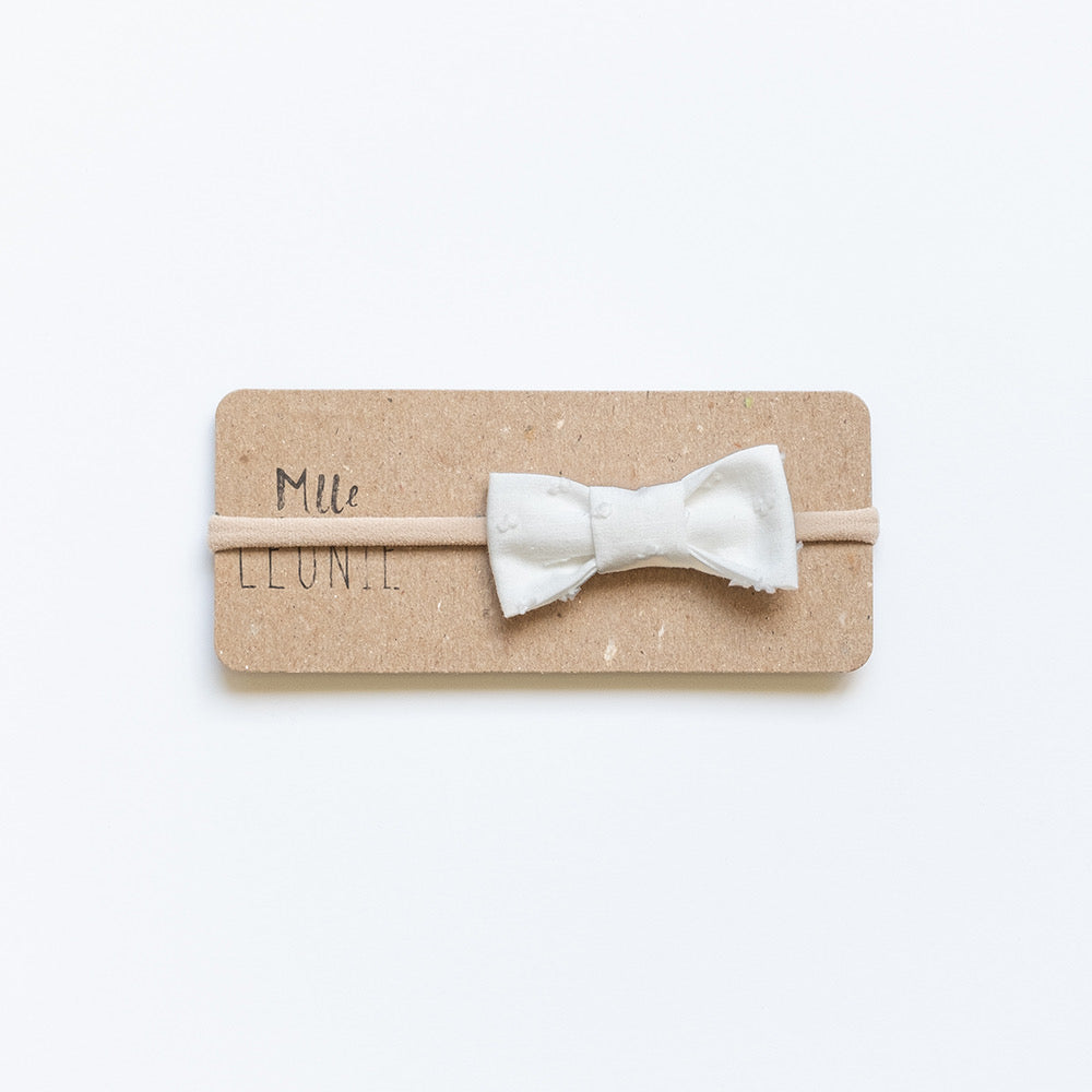 Headband with classic fabric bow | Furry white