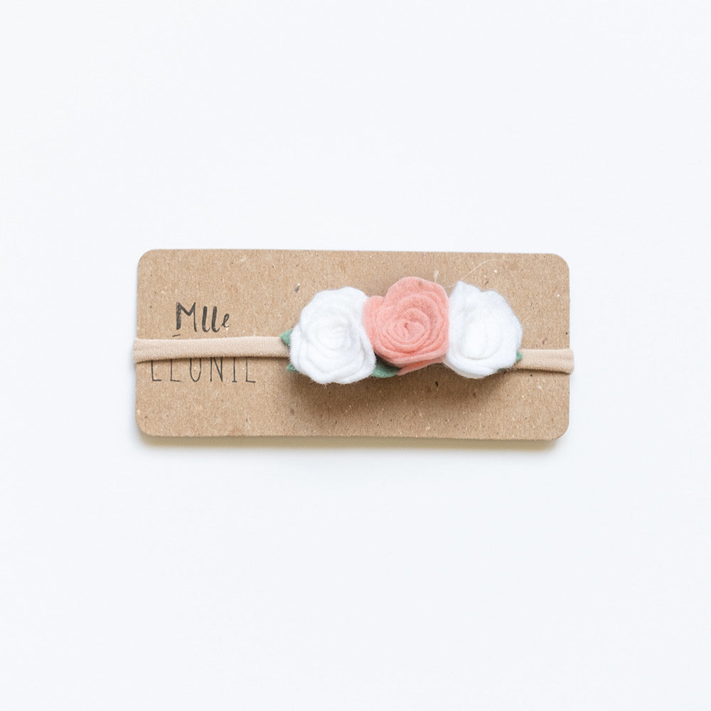 Headband with 3 flowers | White and old pink