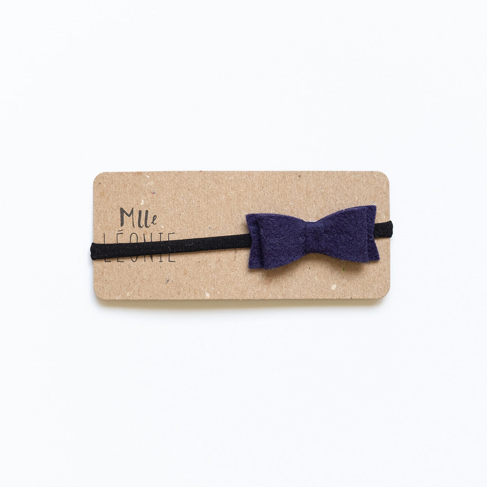 Headband with wool bow | Navy blue with black band