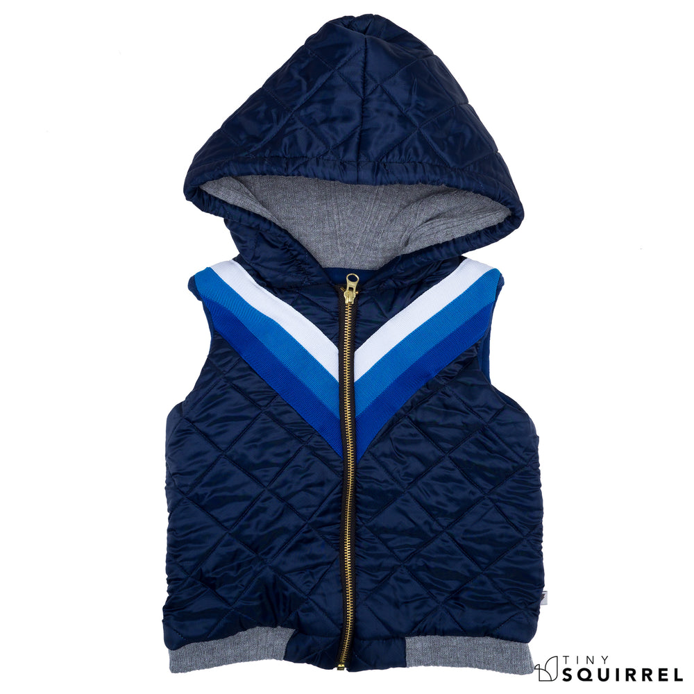 Outerwear | Blue Sleeveless Bomber Jacket