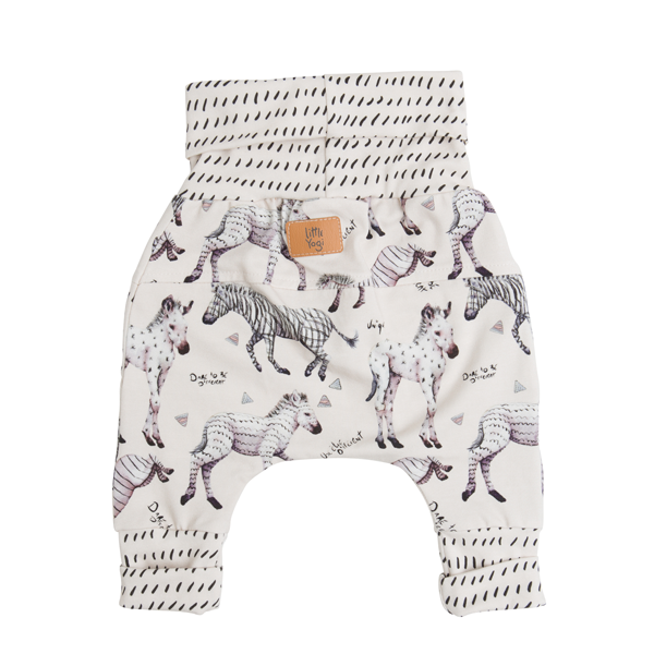 Back of Little Zebras grow-with-me pants by Little Yogi | Tiny Squirrel