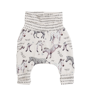 Devant des pantalons évolutifs Little Zebras de Little Yogi | Tiny Squirrel