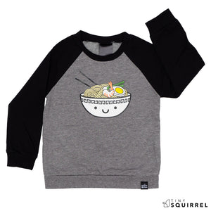 Kawaii Ramen Two-Tone Raglan sweatshirt from Whistle & Flute at the Tiny Squirrel boutique