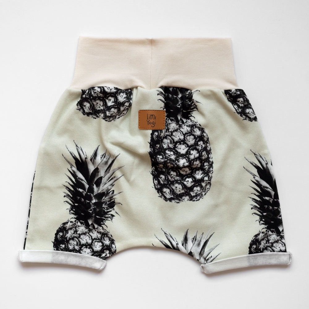 Back of Little Pineapple grow-with-me shorts by Little Yogi | Tiny Squirrel