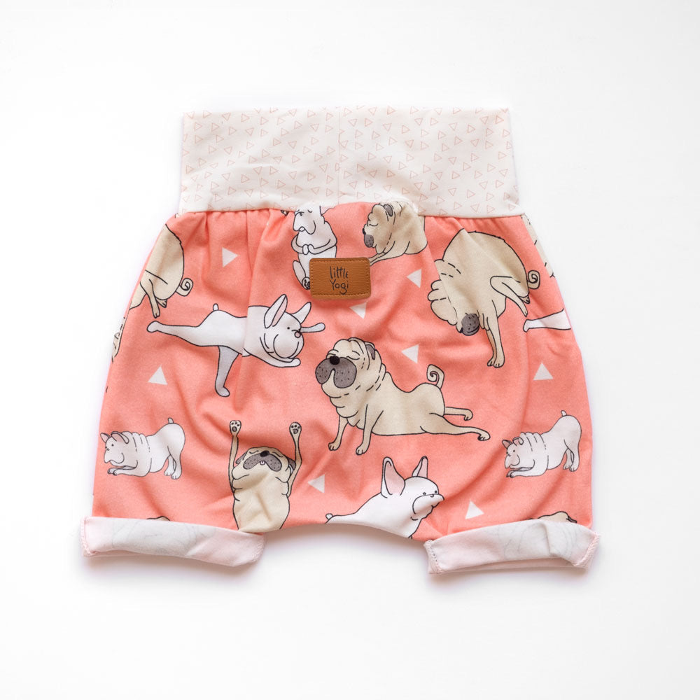 Back of Little Pugs Coral grow-with-me shorts by Little Yogi | Tiny Squirrel