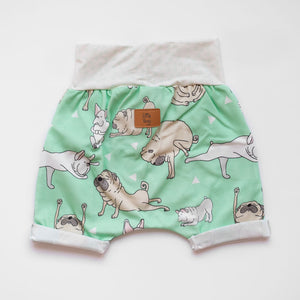 Back of Little Pugs Mint grow-with-me shorts by Little Yogi | Tiny Squirrel