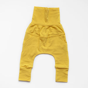 Front of Little Sunshine grow-with-me pants by Little Yogi | Tiny Squirrel