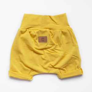 Back of Little Sunshine grow-with-me shorts by Little Yogi | Tiny Squirrel