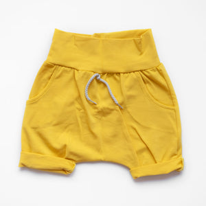 Front of Little Sunshine grow-with-me shorts by Little Yogi | Tiny Squirrel