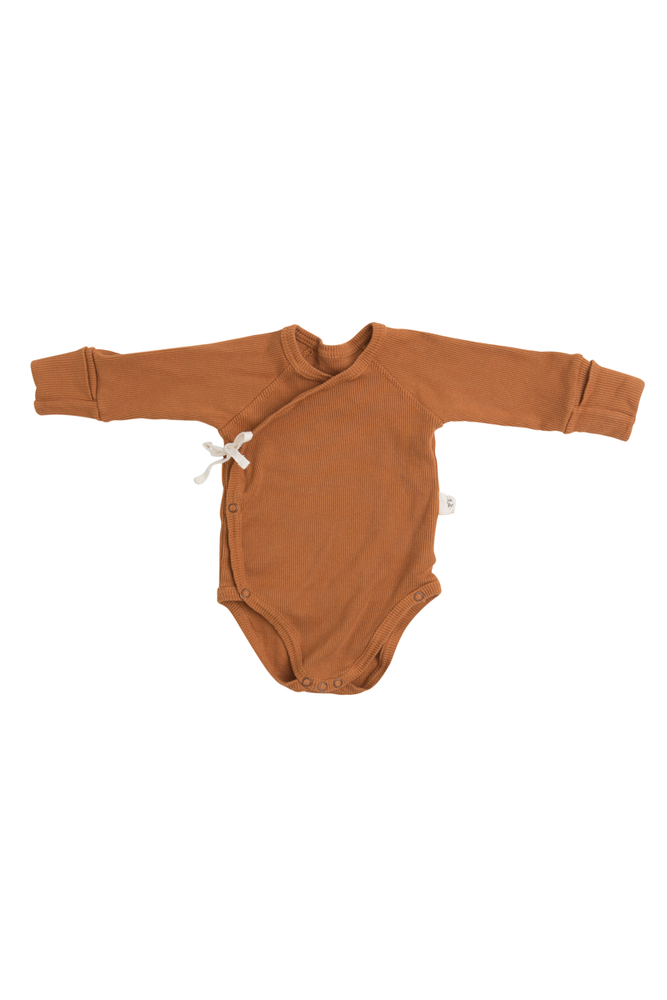 Long-Sleeve Kimono Onesie | Cooper by Little Yogi | Tiny Squirrel