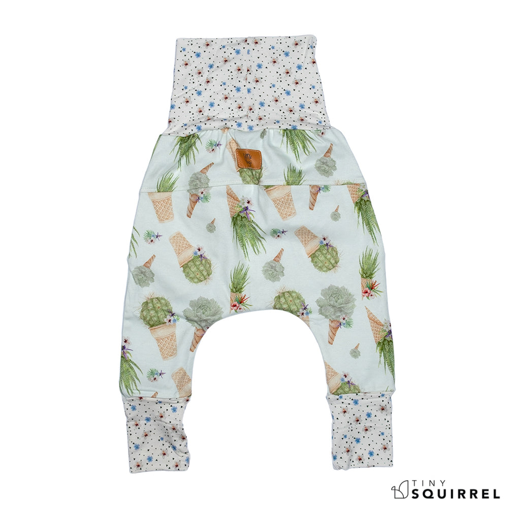 Back of Little Cactus Cone grow-with-me pants by Little Yogi | Tiny Squirrel