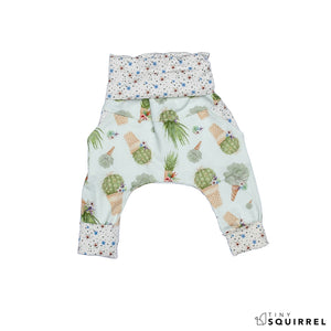Folded Little Cactus Cone grow-with-me pants by Little Yogi | Tiny Squirrel