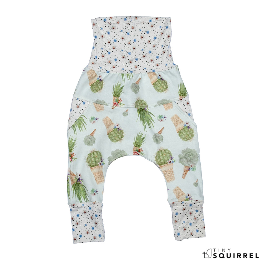 Front of Little Cactus Cone grow-with-me pants by Little Yogi | Tiny Squirrel