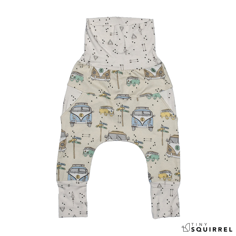 Front of Little Sydney grow-with-me pants by Little Yogi | Tiny Squirrel