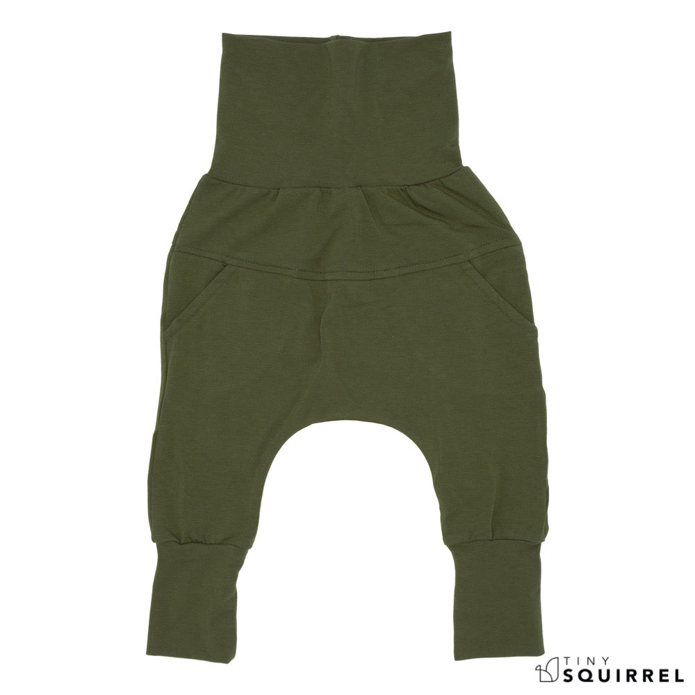 Front of Little Olivier grow-with-me pants by Little Yogi | Tiny Squirrel